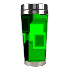 Green Cyber Glow Pattern Stainless Steel Travel Tumblers by Simbadda