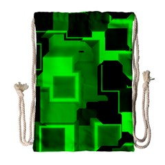 Green Cyber Glow Pattern Drawstring Bag (large) by Simbadda