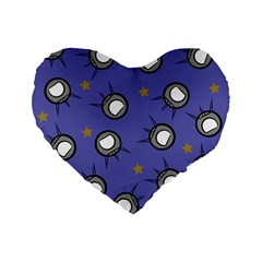 Rockets In The Blue Sky Surrounded Standard 16  Premium Flano Heart Shape Cushions by Simbadda