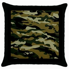 Military Vector Pattern Texture Throw Pillow Case (black) by Simbadda