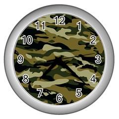 Military Vector Pattern Texture Wall Clocks (silver)  by Simbadda
