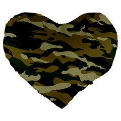 Military Vector Pattern Texture Large 19  Premium Heart Shape Cushions by Simbadda