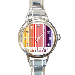 Colorful Gradient Barcode Round Italian Charm Watch
