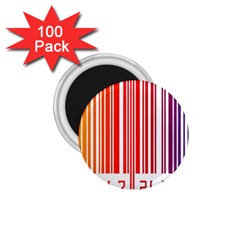 Colorful Gradient Barcode 1 75  Magnets (100 Pack)  by Simbadda