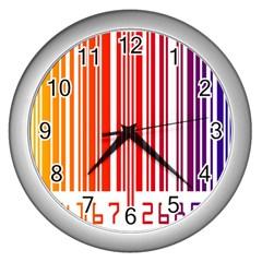 Colorful Gradient Barcode Wall Clocks (silver)  by Simbadda
