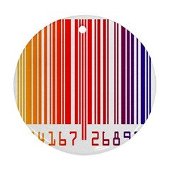 Colorful Gradient Barcode Round Ornament (two Sides) by Simbadda