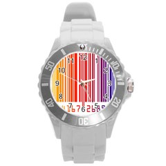 Colorful Gradient Barcode Round Plastic Sport Watch (l) by Simbadda