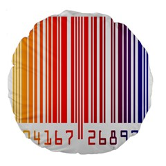 Colorful Gradient Barcode Large 18  Premium Flano Round Cushions by Simbadda