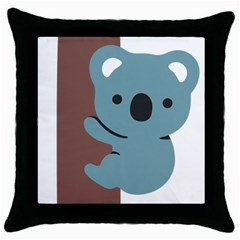 Animal Koala Throw Pillow Case (black) by Alisyart