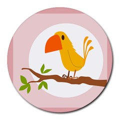 Yellow Bird Tweet Round Mousepads by Alisyart