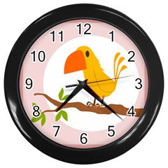 Yellow Bird Tweet Wall Clocks (black) by Alisyart