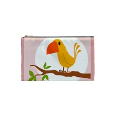 Yellow Bird Tweet Cosmetic Bag (small)  by Alisyart