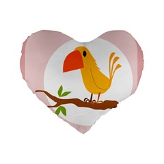 Yellow Bird Tweet Standard 16  Premium Heart Shape Cushions by Alisyart