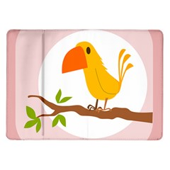 Yellow Bird Tweet Samsung Galaxy Tab 10 1  P7500 Flip Case by Alisyart