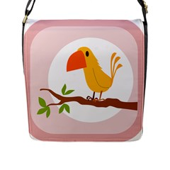 Yellow Bird Tweet Flap Messenger Bag (l)  by Alisyart