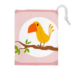 Yellow Bird Tweet Drawstring Pouches (extra Large) by Alisyart