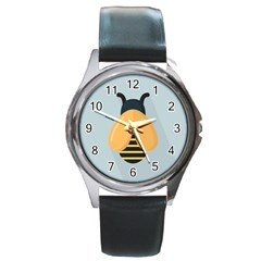 Animals Bee Wasp Black Yellow Fly Round Metal Watch by Alisyart