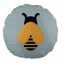 Animals Bee Wasp Black Yellow Fly Large 18  Premium Round Cushions by Alisyart