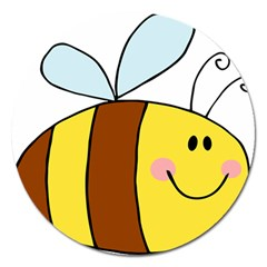 Animals Bee Wasp Smile Face Magnet 5  (round) by Alisyart