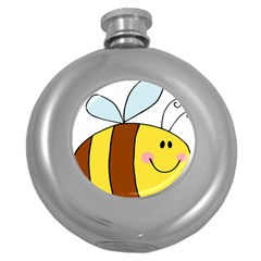Animals Bee Wasp Smile Face Round Hip Flask (5 Oz) by Alisyart