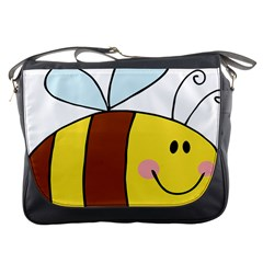 Animals Bee Wasp Smile Face Messenger Bags by Alisyart