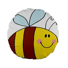 Animals Bee Wasp Smile Face Standard 15  Premium Flano Round Cushions by Alisyart