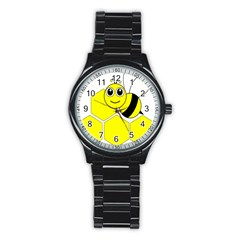 Bee Wasp Yellow Stainless Steel Round Watch by Alisyart
