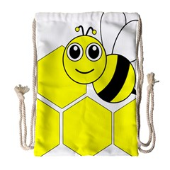 Bee Wasp Yellow Drawstring Bag (large) by Alisyart