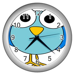 Bird Big Eyes Blue Wall Clocks (silver)  by Alisyart