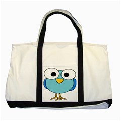 Bird Big Eyes Blue Two Tone Tote Bag by Alisyart