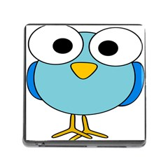Bird Big Eyes Blue Memory Card Reader (square) by Alisyart