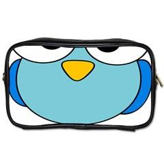Bird Big Eyes Blue Toiletries Bags 2 Side by Alisyart