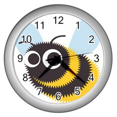 Bee Wasp Face Sinister Eye Fly Wall Clocks (silver)  by Alisyart