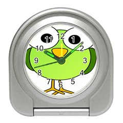 Bird Big Eyes Green Travel Alarm Clocks by Alisyart