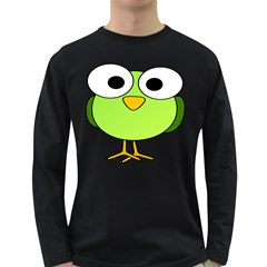 Bird Big Eyes Green Long Sleeve Dark T Shirts