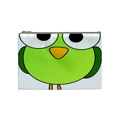 Bird Big Eyes Green Cosmetic Bag (medium)  by Alisyart