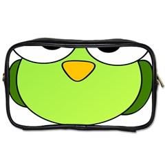 Bird Big Eyes Green Toiletries Bags 2 Side by Alisyart