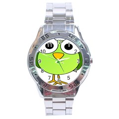 Bird Big Eyes Green Stainless Steel Analogue Watch by Alisyart