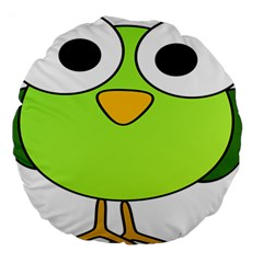 Bird Big Eyes Green Large 18  Premium Round Cushions by Alisyart