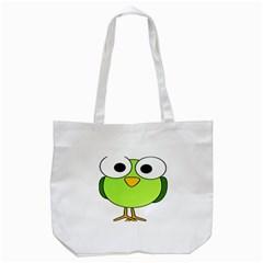 Bird Big Eyes Green Tote Bag (white) by Alisyart