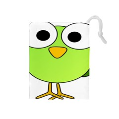 Bird Big Eyes Green Drawstring Pouches (medium)  by Alisyart