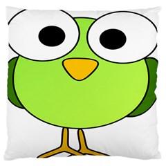 Bird Big Eyes Green Large Flano Cushion Case (one Side) by Alisyart