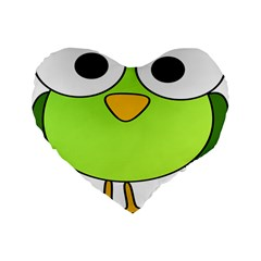 Bird Big Eyes Green Standard 16  Premium Flano Heart Shape Cushions by Alisyart