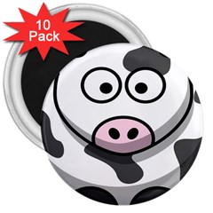 Animals Cow  Face Cute 3  Magnets (10 Pack)  by Alisyart