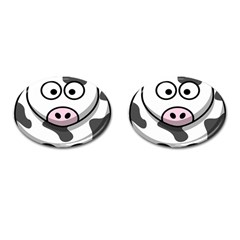 Animals Cow  Face Cute Cufflinks (oval)