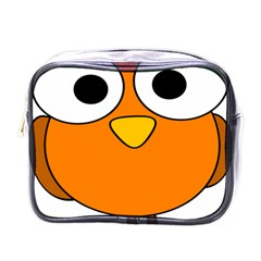 Bird Big Eyes Orange Mini Toiletries Bags by Alisyart