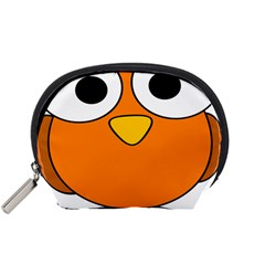Bird Big Eyes Orange Accessory Pouches (small)  by Alisyart