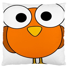 Bird Big Eyes Orange Large Flano Cushion Case (two Sides) by Alisyart