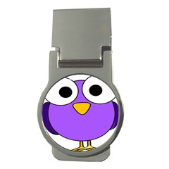 Bird Big Eyes Purple Money Clips (round)  by Alisyart