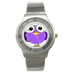 Bird Big Eyes Purple Stainless Steel Watch by Alisyart